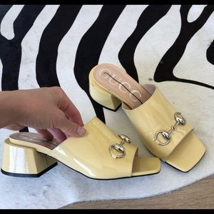 Authentic Gucci yellow patent mule with box 38